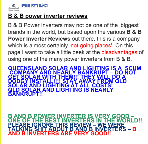 Qld Solar and lighting review of B&B inverters