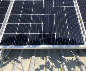 Solar panels in shade