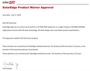 Solaredge waiver
